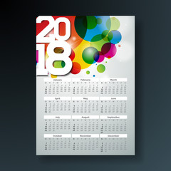 Vector Calendar 2018 Template Illustration with White Number on Abstract Colorful Background. Week Starts on Sunday.