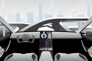 Futuristic self driving car on a high-tech road in the city of the future. Vector illustration EPS 10