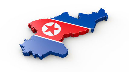 Nordkorea 3D Karte oder Umriss