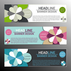 Modern infographic banner design with abstract flowers. Vector