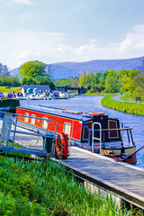 Forth and Clyde Canal with boats in Scotland, UK
