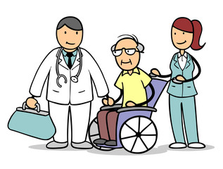 Arzt und Krankenpflegerin mit Senior im Rollstuhl