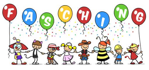 Gruppe Kinder beim Fasching feiern im Kostüm