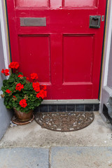 Red door with red geranium flowers