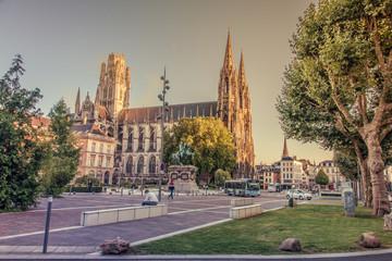 Abbaye de Saint Ouen au crépuscule, Rouen