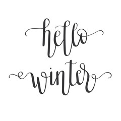 """Hello winter"" isolated hand lettering with no background"