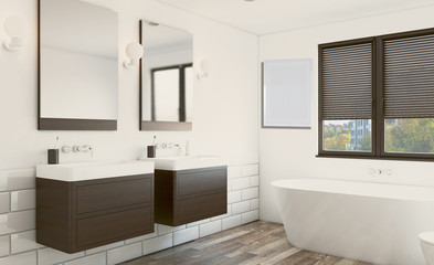 Modern bathroom with large window. 3D rendering. Empty picture