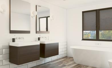 Modern bathroom with large window. 3D rendering.