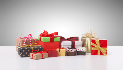 Gift boxes on white background front view.