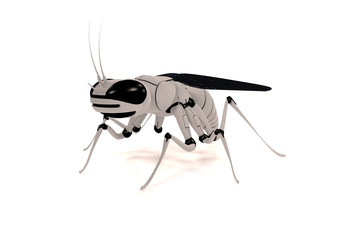 3d rendering of a flying robot insect on a white background