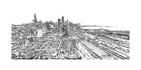 Sketch illustration of Chicago skyline, USA (United States of America) in vector.