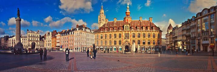 Grand Place de Lille, panorama & ambiance de crépuscule