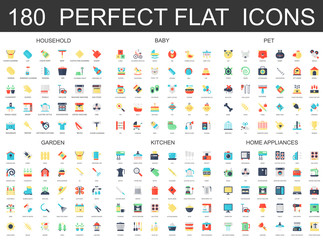 180 modern flat icons set of household, baby, pet, garden, kitchen, home appliances icons.