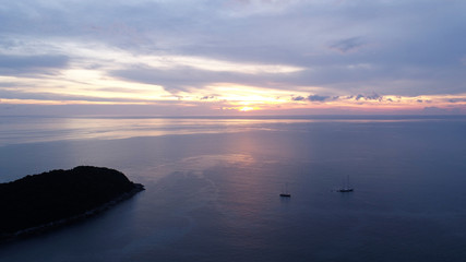 Aerial shot at Laem Phrom Thep watch sunset in Phuket, Thailand