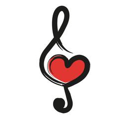 musique - cœur - amour - clé de sol - concept - symbole - pictogramme