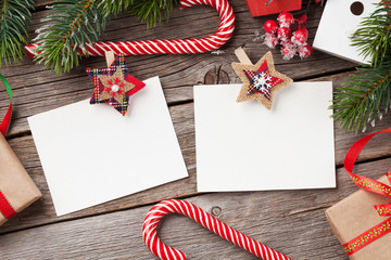 Christmas blank photo frames, decor and fir tree