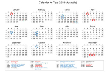 Calendar of year 2018 with public holidays and bank holidays for Australia