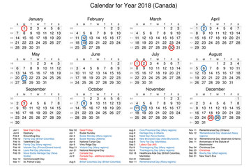 Calendar of year 2018 with public holidays and bank holidays for Canada