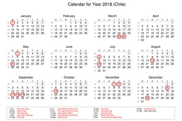 Calendar of year 2018 with public holidays and bank holidays for Chile