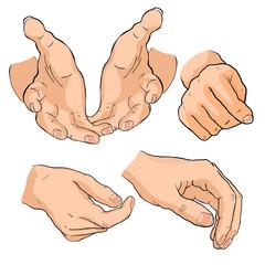 set hand man is bent fingers . vector illustration