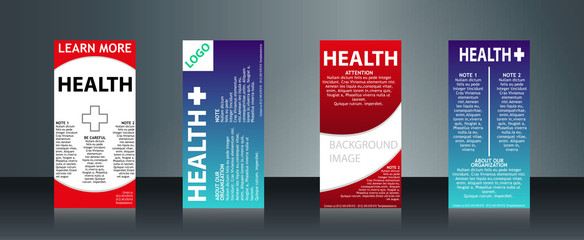Mega collection of 4 abstract medical business cards or visiting cards on different topic, arrange in horizontal. EPS 10.