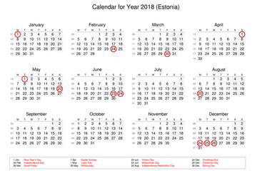 Calendar of year 2018 with public holidays and bank holidays for Estonia