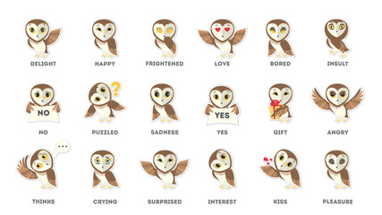 Owl emotions stickers.