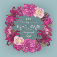Vintage floral card with a frame of peonies and lilies. Beautiful wreath in shabby chic style. Vector illustration.