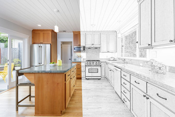 Split Screen Of Drawing and Photo of New Kitchen - Illustration