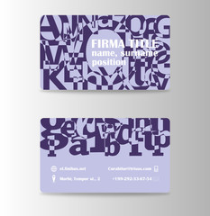 Vector modern creative and trending business card design template in abstract blue shades.