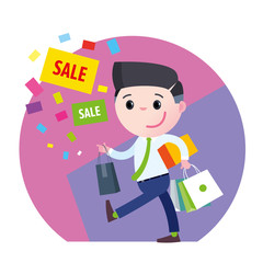 Vector Guy shopping sale box advertising discount banner