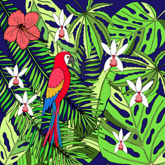 Floral hand drawn tropic background