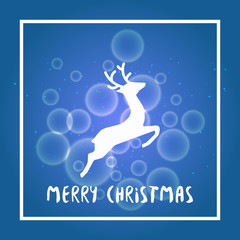 blue vector christmas background with deer