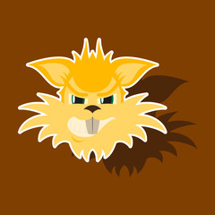 paper sticker on theme evil animal coyote