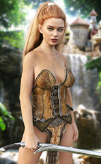 Elf female warrior posing standing guard with her city high above a mountainous waterfall. 3d rendering