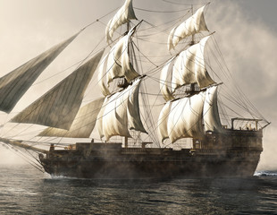 Side view of a pirate ship vessel sailing through the fog . 3d rendering