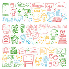 Vector doodle set with children Language school isolated on white background