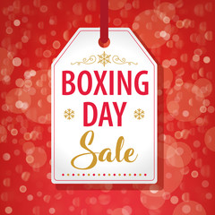 Boxing Day Sale Tag Label on Red Background - Vector