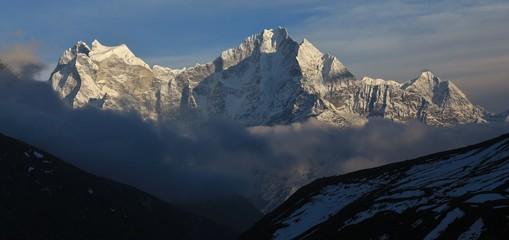 High mountains Kangtega, Thamserku and Khusum Kangru. View from the Gokyo valley, Solu Khumbu, Nepal.