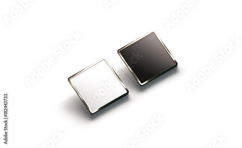 Blank Black And White Square Gold Lapel Badge Mockup Side View 3d Rendering Empty Luxury Hard Enamel Pin Mock Up Golden Clasp Design Template