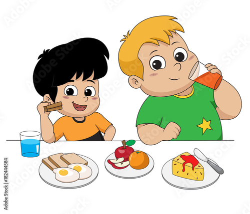 Kid Eating And Talking With Friends Vector And Illustration Stock