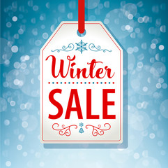 Winter Sale Tag Label on Blue Background - Vector