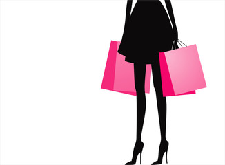 Silhouette of woman with shopping bags. Vector