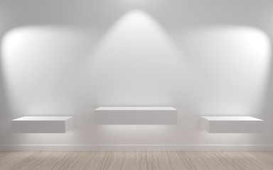 Empty Shelves In Minimalist Style With Led Light Interior White Room Of