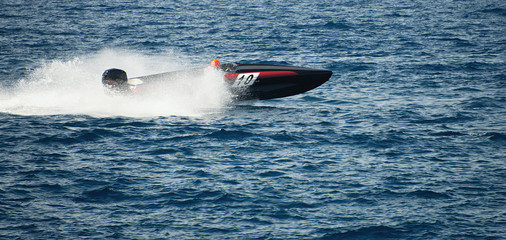 Photo Blinds Water Motor sports Speed boat cruising in the ocean,boat race