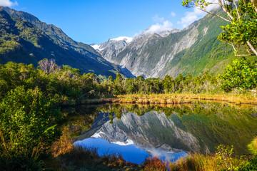 Franz Josef glacier and lake, New Zealand