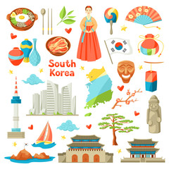 South Korea icons set. Korean traditional symbols and objects