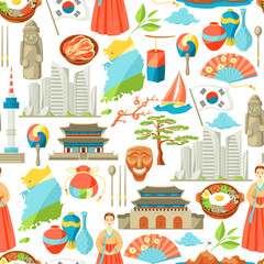 South Korea seamless pattern. Korean traditional symbols and objects