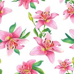 Pink Lilies.Watercolor Seamless pattern