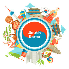 South Korea background design. Korean traditional symbols and objects